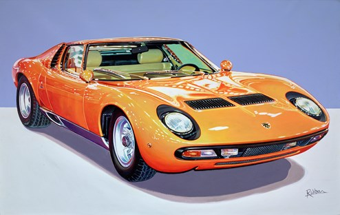 1972 Lamborghini Miura P400 SV by Roz Wilson - Varnished Original Painting on Stretched Canvas